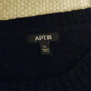 Apt. 9 Sweaters - Size L long black sparkly sweater w/ zipper detail